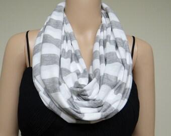 White And Grey Stripe Circle Scarf. Stripe Infinity Scarf. Soft Cotton Spandex Loop Scarf.