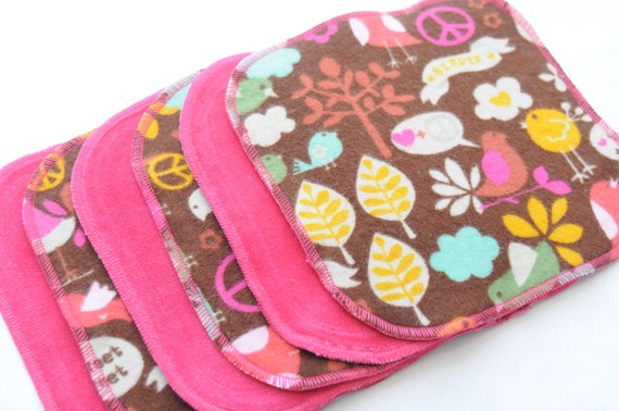 Cloth Wipes - Cotton Velour or Baby terry and flannel - Set of 5 or 6 - Baby Washcloths - Reusable Wet Wipe - Cloth Diaper - Tweet Tweet