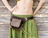 Womens, mens Leather belt bag in chocolate brown, belt pouch, hip bag, utility belt, cargo belt
