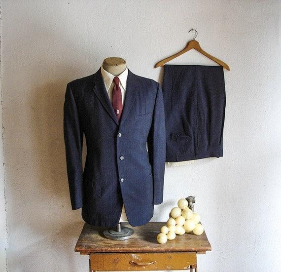 50s-60s MOD Blue 2pc Suit Mad Men Era Mens Vintage Navy Blue 3 Button Blazer / Sport Coat and Slacks by Foreman & Clark - Size 42-44 (LARGE)