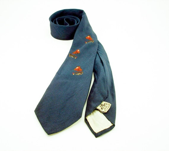 40s Embroidered Horse Tie Beau Brummell Skinny Narrow Navy Blue Mens Vintage Necktie with Embroidered Bridled Horse Head Designs