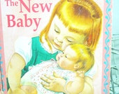The New Baby. Vintage Little Golden Book. Circa 1990. Childhood Memories. Siblings. Baby Shower Gift. Nursery Decor.