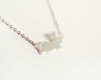 bunny - cute dainty necklace - silver tone delicate jewelry - gift for her under 15