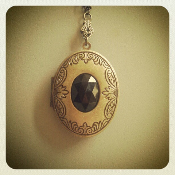 Victorian Solid Perfume Locket - Mourning Jewelry with Jet Bead