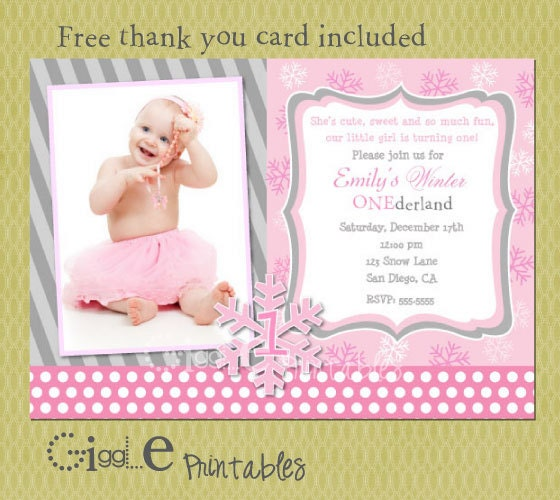 Winter 1st Birthday Invitation FREE Thank You Card Included