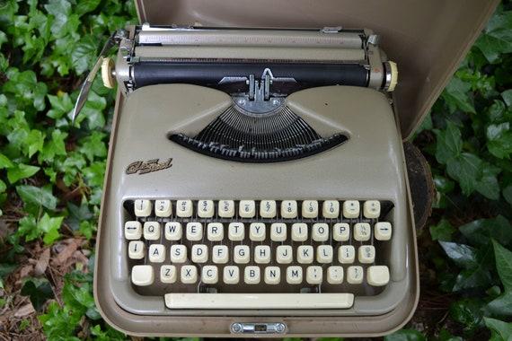 Vintage Cole Steel Portable Typewriter, Tan Metallic