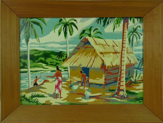 """Vintage 1950s Gauguin inspired Polynesian scene  """"Paint By Numbers"""" oil painting"""