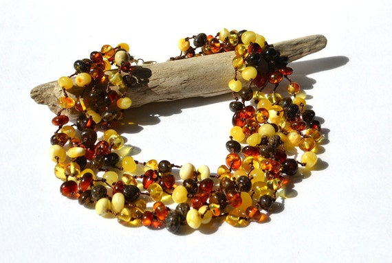 Organic Amber Necklace Multicolor Linen Necklace Modern Multistrand Necklace Winter Fashion