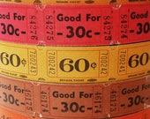 100 Vintage Tickets in Autumn Colors - 20 Old Raffle Tickets in Each of the 5 Fall Shades - Carnival Ticket Lot