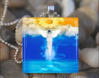 HEAVEN BOUND ANGEL Wings Fantasy Flower Fairy Glass Tile Pendant Necklace Keyring