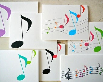 Do Re Mi Music Notes Blank Notecards - 4 Designs - Set of 8 - Personalization Available