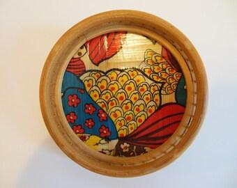 Asian Bamboo Folk Art Handcrafted Coaster ~ 1970's China Handmade Crafts