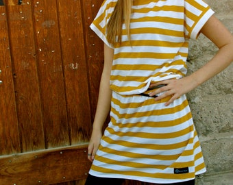 Mustard Yellow and Ivory Striped Knit Tunic from GreenStyle