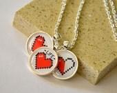 Pixel Heart Pendant Necklace - 3 Pendants