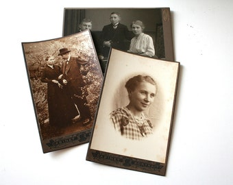 SUMMER SALE 30% OFF!!  Photos - Early 1900s Cabinet Portraits  -Same family - set of 3