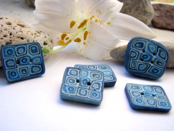 Buttons light blue, denim, dark blue, grey and olive, retro style - set of 5 square buttons