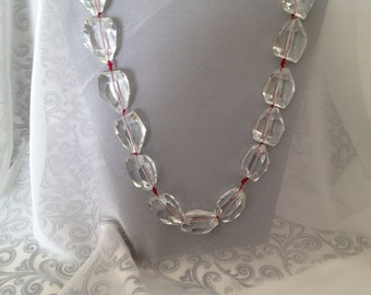 CLOSEOUT SALE! - Quartz Crystal Necklace on Red Silk Cord - Chunky & Fabulous with Toggle Clasp