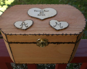 Wedding Card Box/ Rustic Personalized With heart and initials and special date engraved for your special day