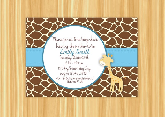 giraffe invitation giraffe baby shower invitation giraffe party