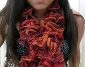 Fall Multicolored Frilly Layered Ruffle Scarf