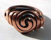 Handcrafted BOLD Swirl Copper Ring with Side Loops (size 7.5)
