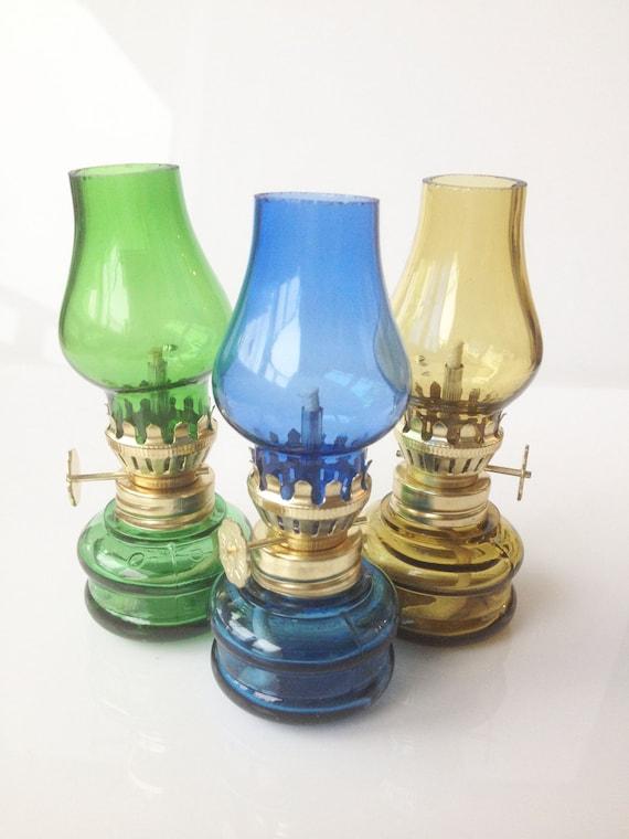 vintage miniature oil lamp set of 3. Black Bedroom Furniture Sets. Home Design Ideas