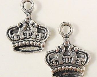 Silver Crown Charms 17x14mm Antique Silver Tone Metal King Royal Royalty Charm Pendant Jewelry Making Jewellery Findings 10pcs