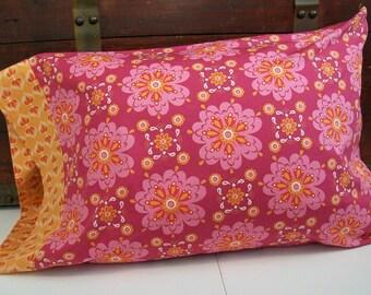 Organic  Cotton Pillow Case, Organic Standard Pillowcase: Pink Petal, Orange Blossom, Floral Pillowcase, Pink, Orange