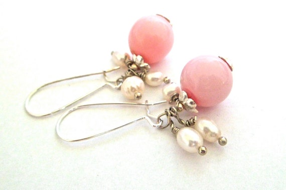 pink earrings hollow blown glass silver dangle drop freshwater pearls wire wrapped FREE SHIPPING