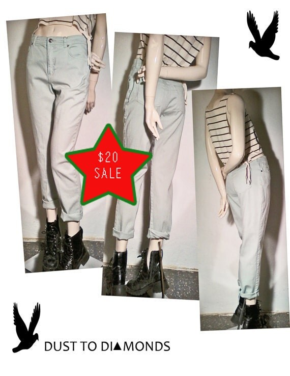 ON SALE, 90's GRUNGE Mint green High Waisted jeans,