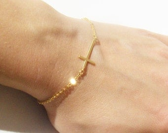 Gold Sideways Cross Bracelet // Gold Cross Bracelet // 16K Gold Plated Bracelet // Gift for Her