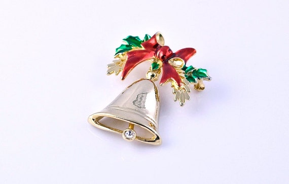 Vintage 1970s Bells Will Be Ringing Christmas Bell Brooch, holiday, winter, festive, red, green, gold, pin, clapper, clanger, rhinestone