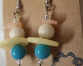 Pair of Handmade Bead and Button Earrings...Pastel and aqua shades...
