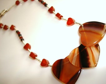 Unique Gemstone Necklace Banded Agate Carnelian and Smoky Quartz