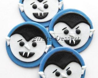 Edible Halloween cupcake toppers - VAMPIRES - Fondant cake decorations Halloween Cupcakes Dracula   (6 pieces)