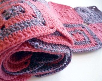 SALE Granny Squares Scarf. Handmade Warm and trendy pink