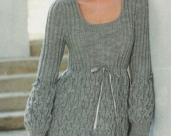 Made to order - An elegant hand knitted spring/winter dress