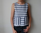 Striped sleeveless shirt tank / tunic top. Blue and white. Cotton. Size S