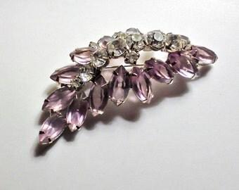 Vintage Jewelry Estate Julianna amethyst and crystal Brooch