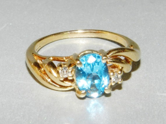 14 K Gold Ring, Large Genuine Blue Topaz and 2 Small Diamonds, Gorgeous