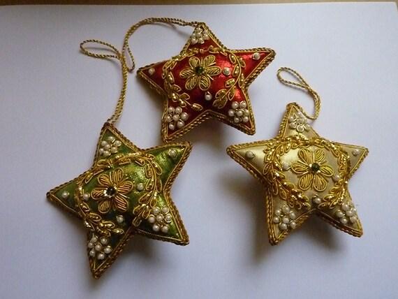 Vintage Christmas Decorations - Indian Beaded Xmas Ornaments - Tree Decorations - Stars
