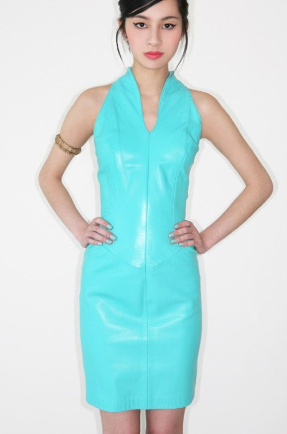 sexiest vintage 1980s NORTH BEACH LEATHER buttery soft aqua leather dress