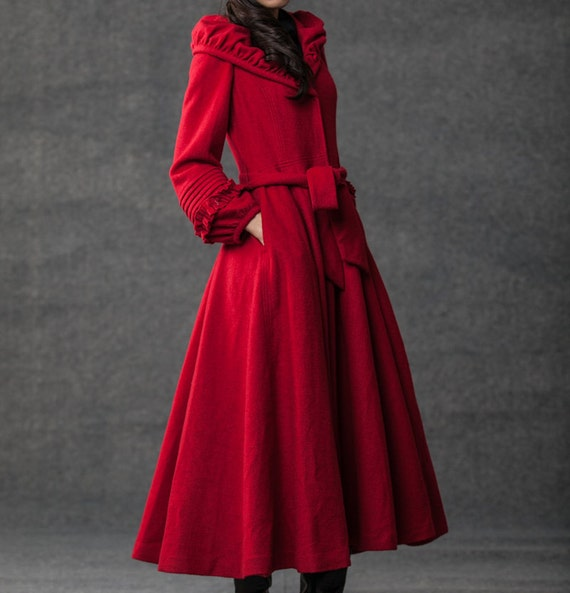 Winter women Shawl collar red wool long  Coat (155)