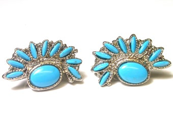 Silver Tone and Turquoise Fan Costume Clip-On Earrings