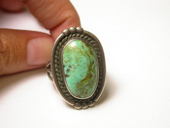 Sterling Silver and Light Turquoise Ring - Size 8