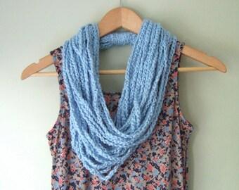 Blue Chain Scarf Necklace / Organic Cotton Scarf / Boho Scarf