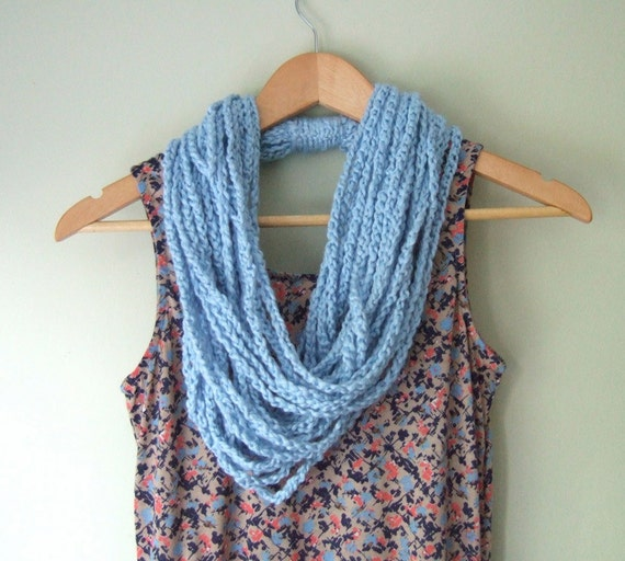 Blue Scarf Necklace .. Light Blue Scarf .. Infinity Scarf .. Boho Necklace Long .. EcoFriendly .. Organic Clothing .. Crochet Lariat