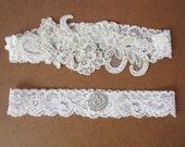 Wedding garter- Lace bridal Garter Set, Vintage Style Wedding garter, Ivory Bridal Garter, Embroidery floral lace garter, Bridal shower gift