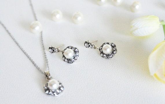 art deco clear crystal swarovski pearl rhinestone tibetan silver plated necklace earring post wedding bridal bridesmaids jewelry set gift