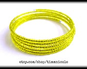 Yellow Seed Bead Memory Wire Bracelet